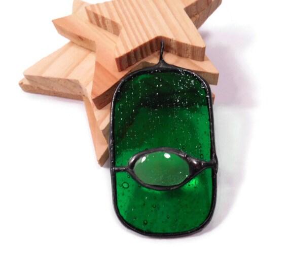 Stained Glass Jewelry Seedy Green Eye Jewelry Pendant Handmade Jewelry Glass and Metal Jewelry Statement Necklace Dark Green Pendant Jewelry