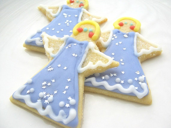 Christmas Angel Sugar Cookies Iced Decorated by SugarMeDesserterie