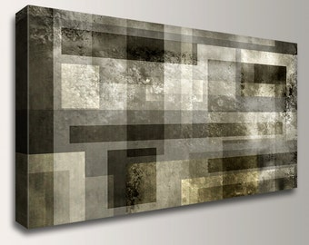 "Canvas Print -Metallic Grey and Bronze - Large Abstract Panoramic Art By ""The Modern Art Shop"" - Modern Digital Print - ""Mystic Fusion"""