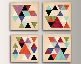"Mid Century Modern - Wall Art Grouping of Canvas Panel Art - Four Square Display of Canvases  "" Tangent """