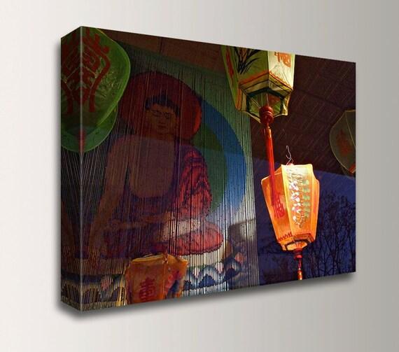 "Zen Wall Decor - Urban Photography - Canvas Print - Buddha and Paper Lanterns - "" Chinatown """