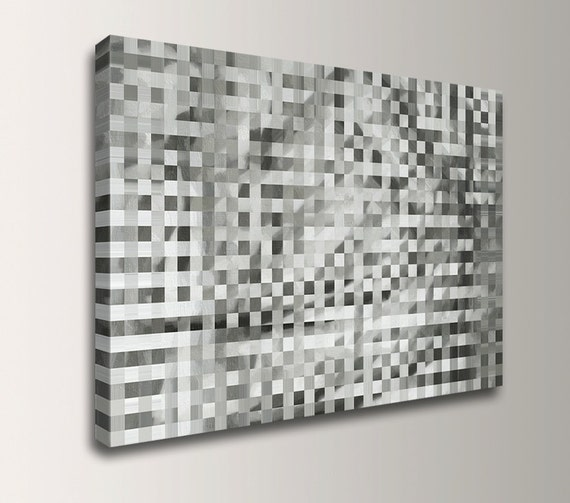 "Abstract Painting Print on Canvas - Neutral Grey and Black Tones - Geometric Modern Art - Wall Decor - ""Riddle"""