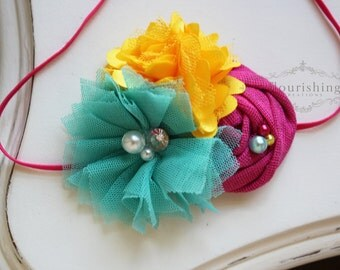 Hot Pink, Yellow and Turquoise headband, rosette headbands,newborn headbands, summer headbands,photography prop
