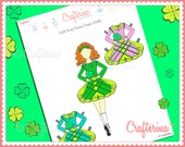 Irish Step Dance Paper Doll - St. Patrick's Day - Shamrock - Paper Craft - Educational Activity - Instant Download - Green