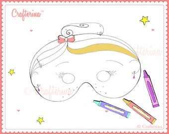 Printable Color and Create Ballerina Mask Kit for Parent & Child - PDF - DIY - Coloring Page