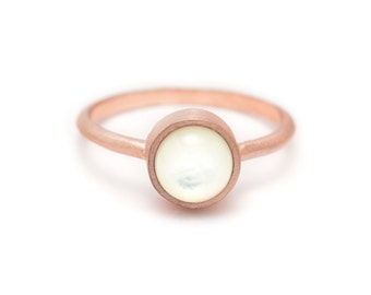 Pearl in Rose Gold Ring - 18k Rose Gold Vermeil - Bezel Set - Sizes 4.5, 5, 5.5, 6, 6.5, 7, 7.5, 8, 8.5, 9, 9.5 and 10