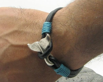 EXPRESS SHIPPING Men's leather bracelet Black leather multi strand  leather bracelet with silver plated whale tail clasp