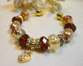 Elegant Beaded Bracelet, Earthtone Amber Bracelet, European Style Beaded Bracelet, Classy Elegant Bracelet