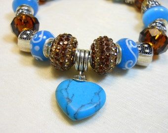 Southwest Valentines Bracelet, European Style Bracelet, SXSW, Blue Turquoise Heart, Women's Charm Bracelet