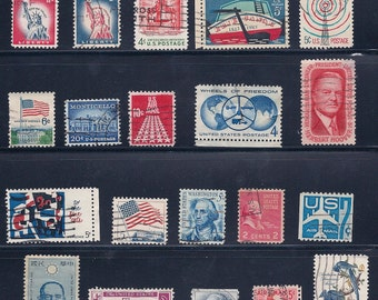 ON SALE United States, USA Red, White and Blue Vintage Stamps 1950/60s - (4A)