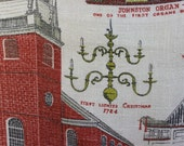 Linen Kitchen Towel- Vintage Towel- The Old North Church of Paul Revere Fame- Boston, Massachusetts