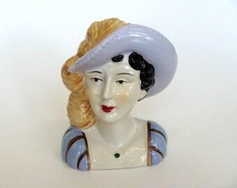 Ceramic Woman Lady Head Statue Bust Figurine, Pastel Color Doll Head Statue Bust Figurine, Home decor, Figurine Collectibles