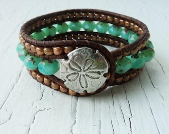 Aqua Leather Beaded Cuff, Sand Dollar Cuff Bracelet, Sand Dollar Jewelry, Leather Wrist Cuff, Beach Cuff, Boho Bracelet, Bohemian Jewelry