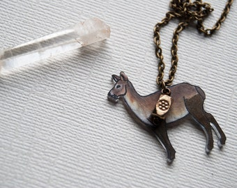 Chinese Water Deer Necklace / Fanged Deer / Metallic Collection / Minimal  / Gold / China / Unusual Animal