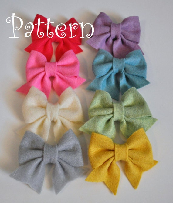 Felt hair bow pattern tutorial with printable templates 3 bow felt hair bow pattern tutorial with printable templates 3 bow styles included hair clip baby bow tie baby bow headband pronofoot35fo Image collections