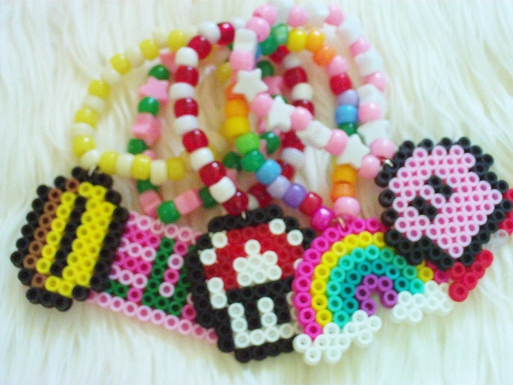 set of 5 perler bead charm kandi bracelets