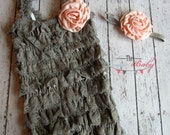 Gray Peach Petti Lace Romper & Headband Set - Newborn Baby Infant Toddler - Lace Ruffles Classic Chic