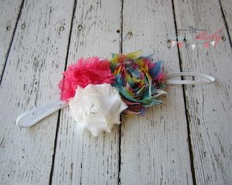Rainbow Skinny Headband with rainbow, white, & hot pink shabby chiffon rosettes. Photo Prop Baby Headband Toddlers Girls Women