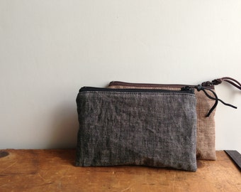 Gray Linen Coin Purse, Small Zipper Pouch, Mens Grey Linen Pouch, Gadget Case, Zipper Wallet, Change Purse