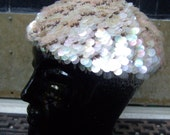 RESERVED SALE PENDING for Jenny Sequined Knit Iridescent Hat Made in Italy c 1960