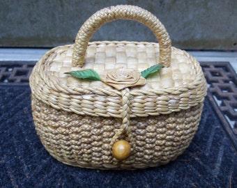 Charming Summer Woven Hyacinth Straw Vintage Handbag