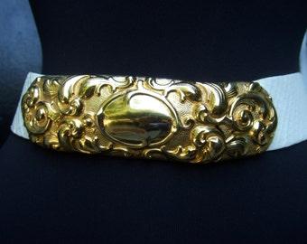 JUDITH LEIBER Exotic Snakeskin Ornate Gold Buckle Belt