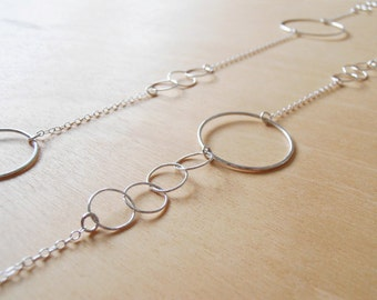Long Silver Circles Necklace - Sterling Silver