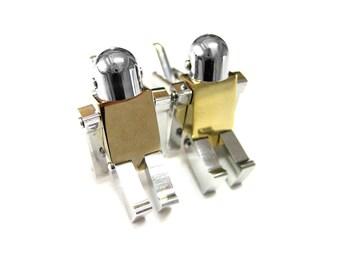 Golden Chrome Robot Cufflinks