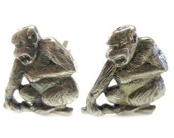 Silver Toned Angry Monkey Cufflinks