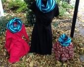 Minze-Navy gestreift Kleinkind Infinity Schal-Medium Gewicht Knit