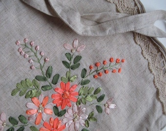 Vintage Linen and Floral Tote Bag Purse Malta