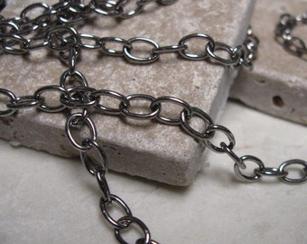 Vintage 5x6mm Oval Cable Chain in Antique Silver.  6 ft.