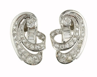 3.26 Carat Vintage Diamond Earrings in Platinum and 14k White Gold