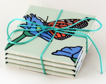 Monarch Butterfly Ceramic Coasters - 50% Off Ceramic Coaster Sale