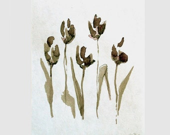 FLOWERS - Drawings with Ink, pencil and acrylic on acid free paper - 5.7 x 4.5 inches-ink art drawing, modern, figurative, sepia, brown