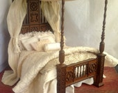 Dollhouse Miniature Dressed Bed