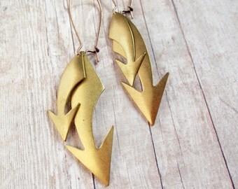 Industrial Arrow Earrings Raw Brass