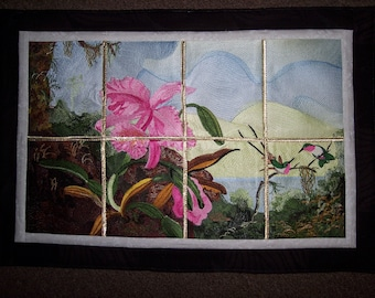 Orchids & Hummingbirds Embroidered Wallhanging