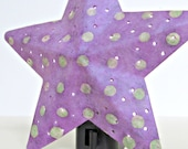 Lavender Star Punched Hole Night Light with White Polka Dots