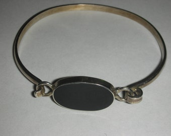 Vintage 925 Sterling Silver Black Oynx Bangle Bracelet