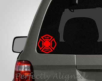 Firefighter Symbol Florian Cross Vinyl Car Decal - medical decal - rescue decal - EMS decal -