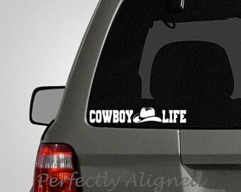 "Western Themed ""Cowboy Life"" Vinyl Car Decal"