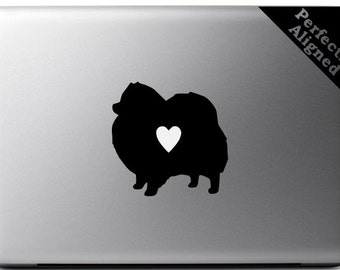Love your Pomaranian - silhouette with heart vinyl Macbook decal - pet decal, dog decal, macbook decal, etc...