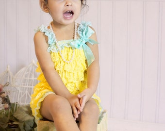 Embellish Your Own Yellow with Aqua Petti Romper-Birthday Girl Petti Lace Romper-WHOLESALE PETTI ROMPER-Cake Smash-Size 6-12mo