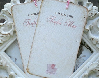 Personalized Vintage Stroller Wish Tree Tags - Set of 12