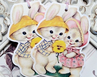 Vintage Baby Bunny Gift Tags (6) Bunny Tags-Easter Favor Tags-Easter Treat Tags-Easter Gift Tags-Shabby Gift Tags-Shabby Easter Tag-Gift Tag