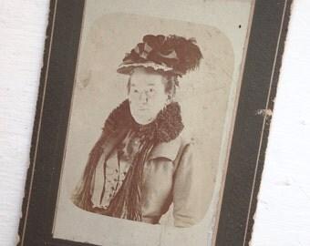 Original Antique Cabinet Card Dressed to the Nines Mrs Laura Harris