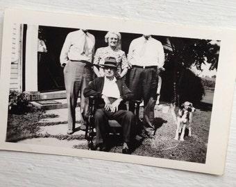 Odd Original Antique Photograph Older Couple with Two Headless Men & Adorable Dog