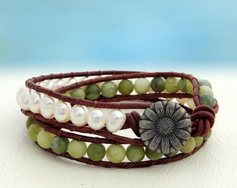 Daisy... Leather wrap bracelet... Beaded Double Wrap Bracelet. Original OceanBead Style.