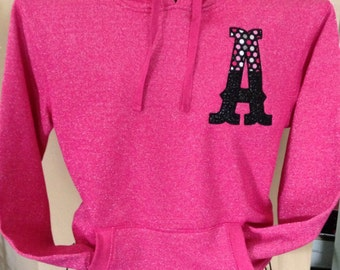 Woman's SPARKLE Wildberry Hoodie with Appliqué Letter - Polka Dot - Glitter